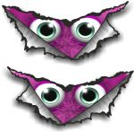 SMALL Pair Triangular Ripped Torn Metal & Cute Pink Monster Motif Vinyl Car Sticker 75x35mm Each
